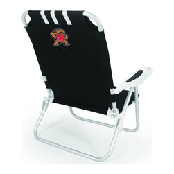 "Picnic Time - University of Maryland Monaco Beach Chair Black - The Monaco Beach Chair is the lightweight, portable chair that provides comfortable seating on the go. It features a 34"" reclining seat back with a 19.5"" seat, and sits 11"" off the ground. Made of durable polyester on an aluminum frame, the Monaco Beach Chair features six chair back positions and an integrated cup holder in the armrest. Convenient backpack straps free your hands so you can carry other items to your destination. Rest and relaxation come easy in the Monaco Beach Chair!; College Name: University of Maryland; Mascot: Terrapins/Terps; Decoration: Digital Print"