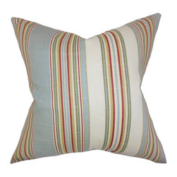 """The Pillow Collection - Florrie Stripes Pillow Blue 18"""" x 18"""" - Boasting a detailed stripe pattern, this accent pillow is perfect for your home. This square pillow is made of 100% soft cotton fabric, which makes it extra comfortable. The vertical stripes come in shades of red, green, blue and white. Mix and match this toss pillow with solids and other patterns. Made in the USA Hidden zipper closure for easy cover removal.  Knife edge finish on all four sides.  Reversible pillow with the same fabric on the back side.  Spot cleaning suggested."""