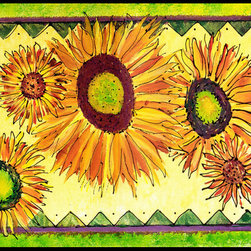 Caroline's Treasures - Flower - Sunflower Indoor Or Outdoor Mat 18X27 Doormat - INDOOR / OUTDOOR FLOOR MAT 18 inch by 27 inch Action Back Felt Floor Mat / Carpet / Rug that is Made and Printed in the USA. A Black binding tape is sewn around the mat for durability and to nicely frame the artwork. The mat has been permenantly dyed for moderate traffic and can be placed inside or out (only under a covered space). Durable and fade resistant. The back of the mat is rubber backed to keep the mat from slipping on a smooth floor. Wash with soap & water.