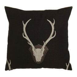 "Horchow - Georgia Deer Pillow - BLACK - Georgia Deer PillowDetailsPillow made of polyester/cotton. Feather/down fill.Spot or dry clean.24""Sq.Made in the USA of imported materials."