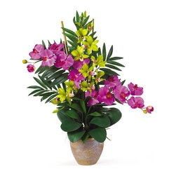 Nearly Natural - Double Phal/Dendrobium Silk Flower Arrangement - If you're looking for an exquisite one of a kind piece then stop right here. This silk orchid arrangement is an exciting mixture of two classic phalaenopsis orchid stems that intertwine with two dendrobium stems. You also notice shoots of bamboo and gorgeous green leaves that help to complete the warm tropical feel of this unbelievable piece. Standing 29 in tall and set in a timeless ceramic pot this silk orchid arrangement is sure to charm the masses. Height: 29 in, Vase: 7 in W * 5.5 in H. Colors: Orchid/Green; # of Flowers: 2 Stems; # of Leaves: 5 Stalks; Pot Size: W: 7 in, H: 5.5 in. Height: 29 in; Width: 24 in; Depth: 16 in.