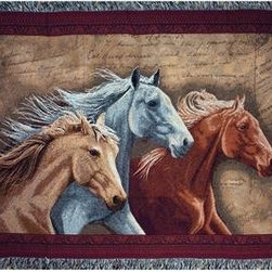 `Three Horses` Brown / Gray Tapestry Throw Blanket 50 Inch X 60 Inch - This multicolored woven tapestry throw blanket is a wonderful addition to your home or cabin. Made of cotton, the blanket measures 50 inches wide, 60 inches long, and has approximately 1 1/2 inches of fringe around the border. The blanket features a trio of running horses against a background of hand-written paper. Care instructions are to machine wash in cold water on a delicate cycle, tumble dry on low heat, wash with dark colors separately, and do not bleach. This comfy blanket makes a great housewarming gift that is sure to be loved.