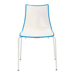 Eurostyle - Zebra Chair (Set of 4) - White/Cornflower/White - Recyclable polymer