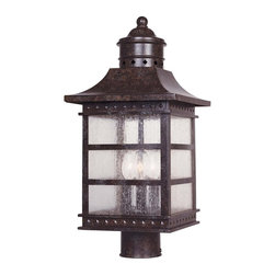 Savoy House Lighting - Savoy House Lighting Seafarer Transitional Outdoor Post Lantern X-27-344-5 - This Savoy House Lighting outdoor post lantern from the Seafarer Collection features a charming blend of maritime inspired style and traditional elements. The Rustic Bronze finish accentuates the charming details while pale cream textured glass panels add to the appeal, making it a great addition to a variety of outdoor settings.
