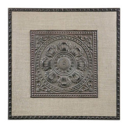 Uttermost - Uttermost Filandari Stamped Metal Wall Art - Stamped Metal Wall Art belongs to Carolyn Kinder Collection by Uttermost Lightly Stained Burlap Matting With Stamped Metal Details Finished In Rust Bronze With A Light Tan Wash. Wall Art (1)