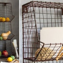 Storage and Buckets - Our Wire Basket Wall Rack is a rustic inspired Wall Storage unit that is perfect for holding fruits, vegetables, or even mail! Place this in your mudroom, kitchen, or laundry room for a stunning organizational piece.