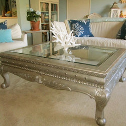 Custom Made Accessories & Furniture - One of a kind Custom Silver antiqued coffee table with embellishment's and rhinestone tacks.
