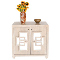 Worlds Away - Worlds Away Nash Limed Oak Cabinet - Two door cabinet in limed oak finish. One fixed shelf inside.  Inset mirrored squares on front of cabinet.