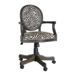 Uttermost - Yalena Swivel Desk Chair - Solid, White Mahogany Wood With Fluted Carvings In A Distressed Black With Dark Espresso Undertones Featuring Adjustable Height And Swivel Castors. Comfortable Seating In Woven Antique White And Black Accented By Nickel Nail Head Detail. Bulbs Included: No