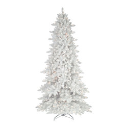 Flocked White Fir Christmas Tree - Create a white Christmas in your home with our Flocked White Fir. Looking like it was plucked right out of a snowstorm, this white Christmas tree is a magical twinkling wonder with its pre-lit branches and pristine needles. A beautiful backdrop for your ornaments, our Flocked White Fir tree is a gorgeous focal point for your holiday activities.