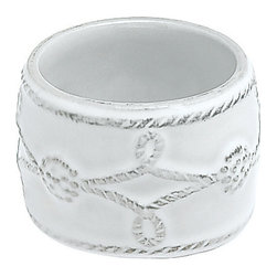 Berry and Thread Napkin Ring - Whitewash - Set of 4 - Whether planning a glittering summer garden party or a winter-white holiday fete, the Berry and Thread Napkin Ring adds allure to your tablescape. The slightly distressed finish lends a touch of rustic refinement, while the whitewash color blends effortlessly with color palettes of every hue.