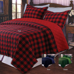 None - Western Plaid Twin-size 2-piece Quilt Set - The rugged quilt set could be a nice addition for a cabin home,but it will look nice in any setting. The plaid set comes in different colors: blue,green,and red. Quilt measures 68 wide x 88 long and the sham is 20 wide x 26 long.
