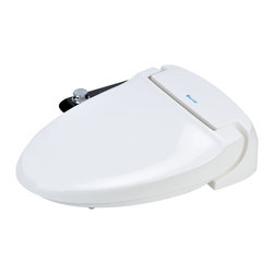 Brondell - Swash Ecoseat 100 Bidet Toilet Seat, Elongated, White - Brondell Swash Ecoseat 100 bidet toilet seat offers posterior and feminine cool water washes at the turn of a convenient jog dial with pressure adjustability. No electricity or batteries required, slow close seat easily replaces the existing toilet seat. Imported.