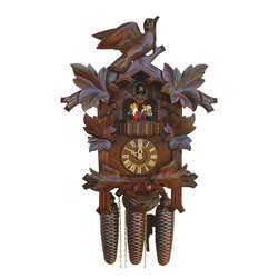Schneider Cuckoo Clocks - 8-Day Musical Black Forest House Cuckoo Clock - Carved style. 8-day rack strike movement. Cuckoo call and strike every half and full hour. Music on the full hour. Stop strike device. Wooden cuckoo, dial with roman numerals and hands. Shutoff lever on left side of case, silences the strike, call, and music. Solid wood hand crafted and red hand painted dancing figurines. Two moving birds. Made from wood. Antique finish. Made in Germany. 11.8 in. W x 7.1 in. D x 16.5 in. H (15.9 lbs.). Care Instructions