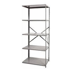 Hallowell - 87 in. High Hi-Tech Heavy-Duty Open Shelving in Gray - Adder (36 in. W x 12 in. - Depth: 36 in. W x 12 in. D x 87 in. H. When you need more storage, choose a starter Hi-Tech shelf unit, then expand with this adder. It's rated heavy-duty and with five shelves also incorporates sturdy bracing. Attachment at beaded posts is simple and provides reinforcement in cold rolled steel construction. Great addition to Hi-Tech  heavy-duty open type shelving starter unit. Open style with sway braces. 5 Adjustable shelves. Fabricated from cold rolled steel. Welds are spaced 3 in. on center to provide maximum strength. Sides are triple flanged to form a channel. All 4 corners are lapped and resistance welded to provide a rigid corner and add extra strength to the shelf. Tubular front edge is designed to protect against impact loads. 36 in. W x 12 in. D x 87 in. H. 36 in. W x 18 in. D x 87 in. H. 36 in. W x 24 in. D x 87 in. H. Assembly required. 1-Year warranty
