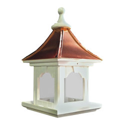 Vinyl/Copper Bird Feeder-Large Capacity-Hanging, Bright - Hanging Copper Roof Bird Feeder in vinyl/PVC with huge hopper that holds 10 lbs. of seed, even big nut mixes!