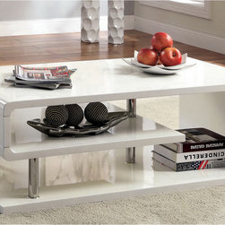 Furniture of America - Furniture of America Inomata Geometric High Gloss Coffee Table - Add simple lines to your home without giving up curvacious details with this geometric and curled coffee table. Convenient shelving designs held sturdily by chrome supports can double as your display or storage shelf.