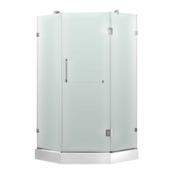 """VIGO Industries - VIGO 40 x 40 Frameless Neo-Angle 3/8"""" Shower, Left Door with White Base - Both dramatic and space-saving, the VIGO frameless neo-angle shower enclosure creates a beautiful focal point for your bathroom."""