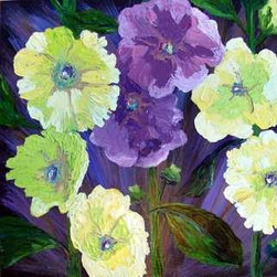 Hollyhocks Yellow And Mauve (Original) By Susan Spohn - I love flowers. This painting was inspired by hollyhocks growing in abundance on a corner lot here in town. They are so beautiful and full of joy. This original oil painting has lots of texture.