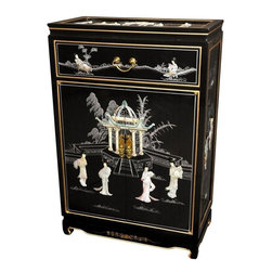 "Oriental Furniture - 36"" Shoe Cabinet - Black Mother of Pearl Ladies - Hand-crafted by artisans in the Guangdong province of mainland China and inspired by Chinese craftsmanship of the 18th Century, this shoe cabinet features a fine lacquer finish and a delicate designs made of authentic mother of pearl. Boasting two doors and a drawer, it is ideal for storage of shoes or other home accessories. Brass hardware is clear lacquered to resist tarnish."