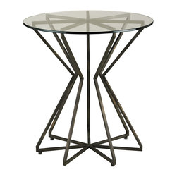 Kathy Kuo Home - Charbonneau Modern Circular Bronze Glass Side Table - We love this modern sculptural side table constructed as a radial star pattern from metal bars.  A glass top allows the pattern to be seen from above while dark bronze finish gives the piece a sophisticated feel.  Ray and Charles would approve!