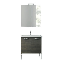 ACF - 30 Inch Grey Oak Bathroom Vanity Set - This Italian-made bathroom vanity set features a waterproof panel made of engineered wood in a beautiful grey oak finish.