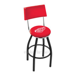 Holland Bar Stool - Holland Bar Stool L8B4 - Black Wrinkle Detroit Red Wings Swivel Bar Stool - L8B4 - Black Wrinkle Detroit Red Wings Swivel Bar Stool w/ Back belongs to NHL Collection by Holland Bar Stool Made for the ultimate sports fan, impress your buddies with this knockout from Holland Bar Stool. This contemporary L8B4 logo stool has a black wrinkle single-ring base and a cushioned back to achieve maximum comfort and support. Holland Bar Stool uses a detailed screen print process that applies specially formulated epoxy-vinyl ink in numerous stages to produce a sharp, crisp, clear image of your team's emblem. You can't find a higher quality logo stool on the market. The plating grade steel used to build the frame is commercial quality, so it will withstand the abuse of the rowdiest of friends for years to come. The structure is powder-coated to ensure a rich, sleek, long lasting finish. Construction of this framework is built tough, utilizing solid mig welds. If you're going to finish your bar or game room, do it right- with a Holland Bar Stool. Barstool (1)