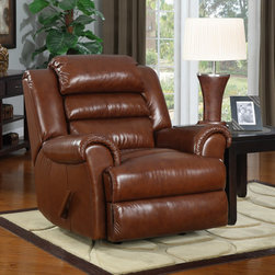 """At Home Designs - Sedona Contemporary Recliner in Caramel - This top grain leather recliner is stylishly padded with a triple pub back and padded arms. It boasts traditional recliner styling with a supple, high end feel to the touch. Soft hued toffee-marbled in coloring, you'll find this recliner will instantly add warmth and charm to any room. Outside back and outside arms are covered in complementary vinyl.; This recliner is designed with sinuous wire seating and swing anchors for added seating comfort. The seat box is crafted with hard wood for a more sturdy frame and extra seat life. A mortise and tenon frame with glued joints and corner blocks add to the solid frame construction. All stitching has reinforced backing to strengthen the seams and reduce slippage and wear. The recliner back can be removed easily to fit through small doorways and up stairs. Trimmed underneath with a non-woven to conceal all exposed wood and finished with a leather wrapped handle, every detail has been addressed to provide a finished look that is as handsome and stylish as it is functional.; Solid wood seat box; Seat Height 20""""; Fully reclined 66.5""""; Dimensions: 42""""H x 40.5""""W x 42.25""""D"""