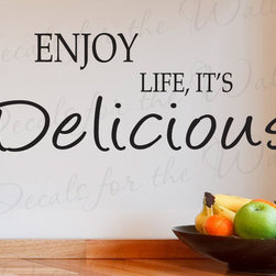 Decals for the Wall - Wall Decal Sticker Quote Vinyl Lettering Large Life is Delicious Kitchen KI02 - This decal says ''Enjoy life, it's delicious''