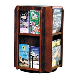 Wooden Mallet - Four-Sided Revolving Oak Display Rack w Remov - Finish: Dark Red MahoganySpin your thinking on affordable, essential office supplies. This Wooden Mallet revolving magazine & literature rack makes an ideal addition to reception and waiting areas. Holds up to 40 magazines for comprehensive value. Pick from stylish color options to enhance any decor. Floor stand units are easy to move when rearranging furniture. Rotates on a metal lazy Susan. Furniture quality construction with solid oak sides sealed in a durable state-of-the-art finishPictured in Dark Red Mahogany. No assembly required. 16.5 in. D x 16.5 in. W x 24.625 in. H (30 lbs.)Wooden Mallet's beautiful spinning magazine rack will add a touch of class to any lobby. This rack conveniently displays 40 magazines in a compact body.