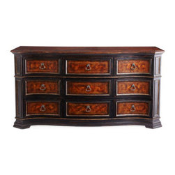 "Horchow - Madrone Dresser - Stately dresser features a European traditional design finished in a rich golden madrone burl and walnut and cherry veneers. Made of hardwood solids and laminated lumber. Hand-painted, distressed finish. Two drawers. 37""W x 19""D x 34""T. Imported....."