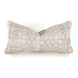 "Pfeifer Studio - Basket Woven Cowhide Pillow, Off-White, 9"" X 18"" - This basket weave pattern is a fresh take on cowhide. The topstitching creates a mosaic of woven squares that make up a beautifully textured throw pillow. Each pillow features a coordinating fabric backing and is filled with comfy feathers and down."