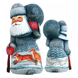 """Artistic Wood Carved Delightful Foxy Santa Claus Sculpture - Measures 6.5""""H x 3.5""""L x 3.25""""W and weighs 1 lb. G. DeBrekht fine art traditional, vintage style sculpted figures are delightful and imaginative. Each figurine is artistically hand painted with detailed scenes including classic Christmas art, winter wonderlands and the true meaning of Christmas, nativity art. In the spirit of giving G. DeBrekht holiday decor makes beautiful collectible Christmas and holiday gifts to share with loved ones. Every G. DeBrekht holiday decoration is an original work of art sure to be cherished as a family tradition and treasured by future generations. Some items may have slight variations of the decoration on the decor due to the hand painted nature of the product. Decorating your home for Christmas is a special time for families. With G. DeBrekht holiday home decor and decorations you can choose your style and create a true holiday gallery of art for your family to enjoy. All Masterpiece and Signature Masterpiece woodcarvings are individually hand numbered. The old world classic art details on the freehand painted sculptures include animals, nature, winter scenes, Santa Claus, nativity and more inspired by an old Russian art technique using painting mediums of watercolor, acrylic and oil combinations in the G. Debrekht unique painting style. Linden wood, which is light in color is used to carve these masterpieces. The wood varies slightly in color."""