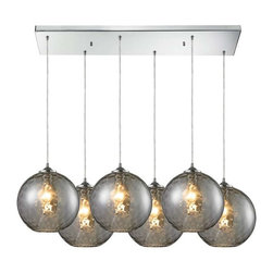 Elk Lighting - Elk Lighting 31380/6rc-smk Watersphere Multi Light Mini Pendant Light - Elk Lighting 31380/6rc-smk Watersphere Transitional Multi Light Mini Pendant Light in Polished Chrome