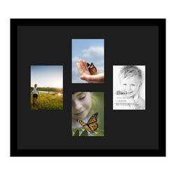 ArtToFrames - ArtToFrames Collage Photo Frame  with 4 - 6x8 Openings and Satin Black Frame - Your one-of-a-kind photos deserve one-of-a-kind frames, but visiting a custom frame shop can be time consuming and expensive. ArtToFrames extensive and growing line of inexpensive multi opening Photo Mats will get you the look you want at a price you can afford. Our Photo Mats come in a variety of sizes and colors and can be custom made to your needs. Frame choices range from traditional to contemporary, with both single and multiple photo opening mat options. With our large selection of custom frame and mat choices, the design possibilities are limitless. When you're done, you'll have a unique custom framed photo that will look like you spent a fortune at a frame shop. Your frame will be delivered directly to your front door or sent as a gift straight to your recipient.
