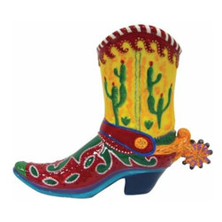 WL - 6 Inch Multi Colored Cactus Cowboy Boot Painted Ceramic Piggy Bank - This gorgeous 6 Inch Multi Colored Cactus Cowboy Boot Painted Ceramic Piggy Bank has the finest details and highest quality you will find anywhere! 6 Inch Multi Colored Cactus Cowboy Boot Painted Ceramic Piggy Bank is truly remarkable.
