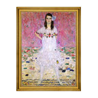 """Gustav Klimt-18""""x24"""" Framed Canvas - 18"""" x 24"""" Gustav Klimt Portrait of Meda Primavesi framed premium canvas print reproduced to meet museum quality standards. Our museum quality canvas prints are produced using high-precision print technology for a more accurate reproduction printed on high quality canvas with fade-resistant, archival inks. Our progressive business model allows us to offer works of art to you at the best wholesale pricing, significantly less than art gallery prices, affordable to all. This artwork is hand stretched onto wooden stretcher bars, then mounted into our 3"""" wide gold finish frame with black panel by one of our expert framers. Our framed canvas print comes with hardware, ready to hang on your wall.  We present a comprehensive collection of exceptional canvas art reproductions by Gustav Klimt."""