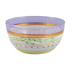 "Golden Hill Studio - Mosaic Garland 11"" Bowl - In a glass by itself: This distinctive glass serving bowl is hand-decorated with painted garlands, patterns and bands of shimmering metallic. You can also employ it as a unique and stunning bowl for fresh fruit or flowers."
