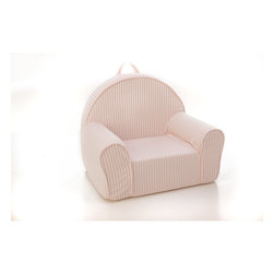 Fun Furnishings - Fun Furnishings Stripe My First Chair-Personalized in Pink - Perfect size seating for toddlers, this cute comfortable chair even comes with a handle just right for little hands. Safe and sturdy, slip covered for easy care this chair pleases parents while little girls and boys delight in having furniture that is theirs alone. Built-in durability. We've worked hard to make our furniture durable and help it retain its appearance. We use high-density foam to make the furniture hold up to the tough use it receives from kids. We include a layer of fiber on the seating surfaces to keep the fabric tight much longer.