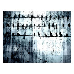 "Parvez Taj - Wall Prints - Birds on a wire - 24""x36"" - Catch the Birdland local. The headliners for this show are these top-flight, jazzy birds, intent on broadcasting their own song over the wire. This unique, giclee Parvez Taj print lets you can catch their act any time you wish, in the privacy of your own living room."