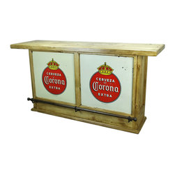 Corona Double Bar - This Corona Double Bar is made out of solid pine and comes direct from Mexico. Forged Iron Accents adorn this hand crafted beauty. Hand made and hand finished. Goes great with any Southwestern Decor, Rustic Decor, Hacienda Design Style or Mexican Themed Furniture Design Style. You will not be disappointed. Limited stock, order now!