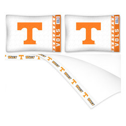 Sports Coverage - NCAA Tennessee Volunteers Football Queen Bed Sheet Set - Features: