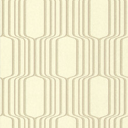 Brewster Home Fashions - Vina Gold Square Ogee Wallpaper Swatch - A geometric gold  Wallpaper with a global and mod feel. Treat your walls to a contemporary drama with this chic print with a dazzling dusting of gold glitter.