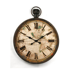 Iron Clock - With this character-rich clock, you get the distinguished look of a vintage pocket watch, but for your wall space. For added visual interest, an atlas-map backdrop and the aged patina evoke thoughts of maritime seafarers.