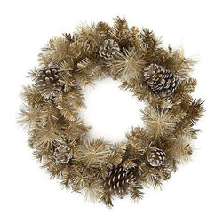 Pine Wreath, Champagne - This champagne-colored wreath would look amazing in any room for the holidays. The color adds a touch of glam and sparkle.