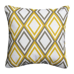 5 Surry Lane - Designer Yellow Gray Diamond Argyle Geometric Contemporary Pillow Cover - Do not underestimate the importance of a great pillow.  Both classic and modern, this pillow boasts sophisticated style.  Reverses to solid.  Hidden zipper closure.  Made in the USA.  Down feather insert included.  Can ship together.