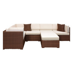 International Home Miami - Atlantic Bellagio Sectional 6-Piece Patio Set in Off-white - Great quality, stylish design patio sets, made entirely of high quality resin. No metal parts. I won't rust. Polyester cushion with water repellant treatment. Enjoy your patio with elegance all year round with the wonderful Atlantic outdoor collection.