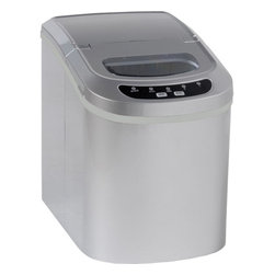 """Avanti - Countertop Icemaker - Portable countertop icemaker. Easy to use electronic controls. Makes up to 26 lb. of ice per day. Selectable cube size (Small or Large). Large water supply tank. Bullet style cubes. Lightweight/portable. Unit dimensions 13""""H x 9.75"""" W x 14""""D"""