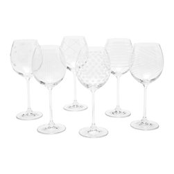 Assorted Etched Stemmed Wine Glass, Set of 6 - All purpose wine glasses that will brighten your every day. Each is etched with a different pattern for mix and match flare.