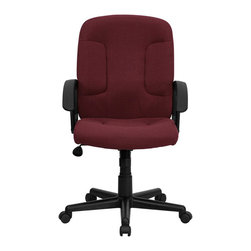 Flash Furniture - Flash Furniture Mid Back Chair with Nylon Arms in Burgundy - Flash Furniture - Office Chairs - GOST6BYGG - Affordably priced fabric upholstered office chair provides a warm and inviting feel while performing work related offices or browsing the internet. The mid-back design makes it a perfect desk chair especially for smaller work spaces, but still doesn't compromise on its appeal and features. [GO-ST-6-BY-GG]